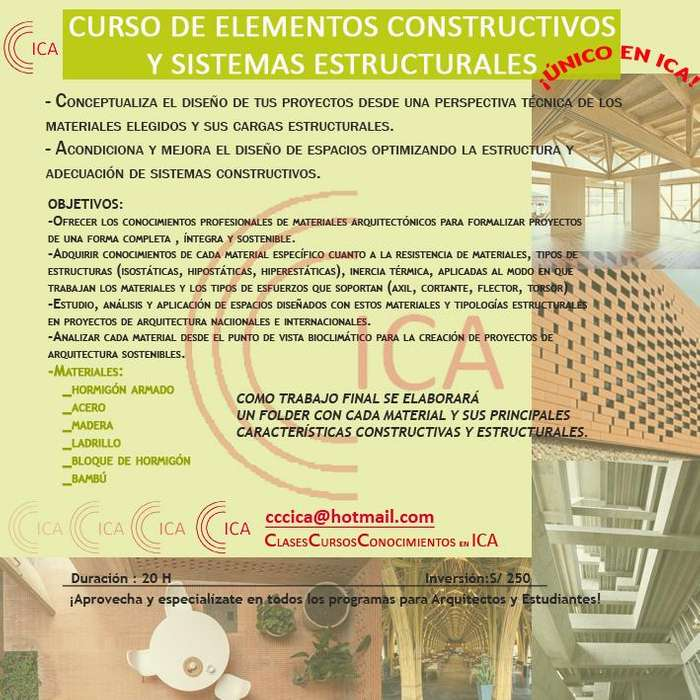 CURSOS DE ELEMENTOS CONSTRUCTIVOS Y ELEMENTOS ESTRUCTURALES