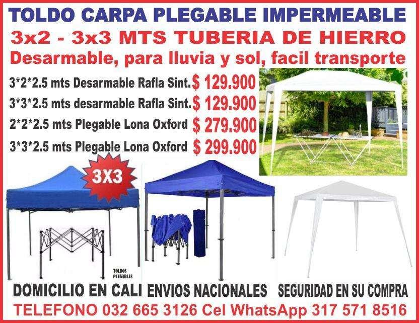 TOLDO CARPA PLEGABLE,, IMPERMEABLE, PARA EL SOL, TUBERIA DE HIERRO