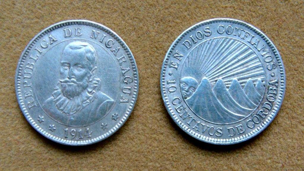 Moneda de 10 centavos de plata Nicaragua 1914
