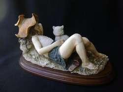 G. Armani Capodimonte Figura Niña siesta con gato / Maxim Nord