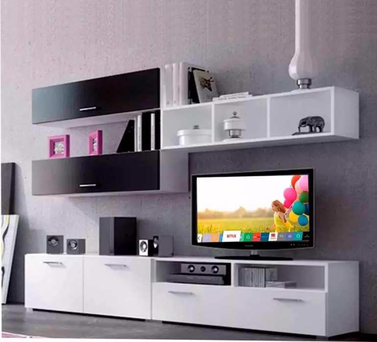 MESA RACK MODULAR PARA TV LCD LED Y REPISA. CARPINTERÍA NOAH