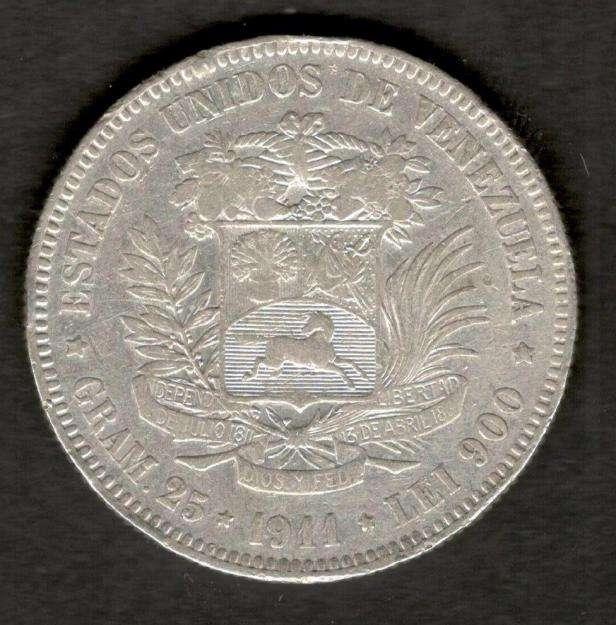 Venezuela 1911 FUERTE 5 Bolivares 90 Silver Coin 25 Grams