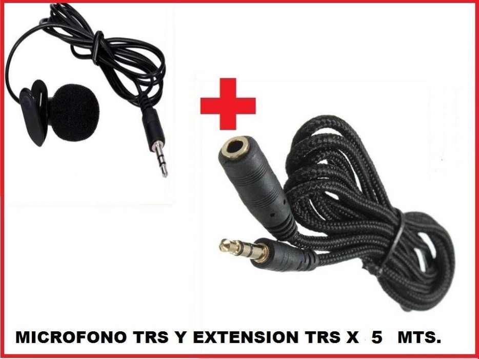 Kit Microfono De Solapa Trs Extensión Trs De 05 Mts. Largo