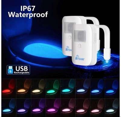 2 paquetes de luz de inodoro recargable con sensor de movimiento LED con USB