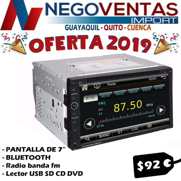 RADIO PARA CARRO DOBLE DIN 6.5 P USB SD AUX CD DVD BT FM REPRODUCTOR DE VIDEO CON ENTRADA Y SALIDA DE VIDEO