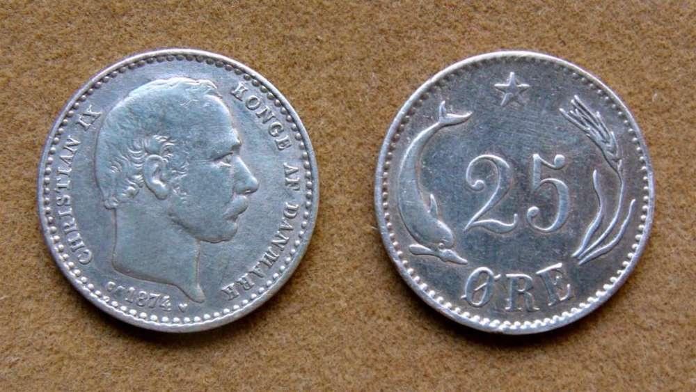 Moneda de 25 öre de plata Dinamarca año 1874