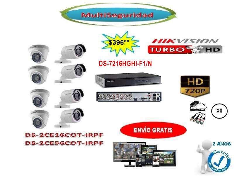 KIT HIKVISION TURBO HD 720P 8CÁMARAS DVR 16CH ACCESORIOS CCTV