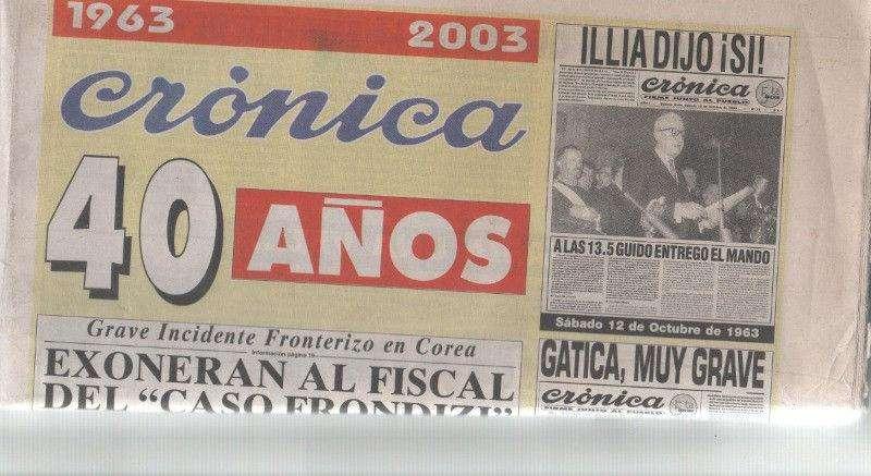 Diario Crónica 40 Aniversario 19632003 Ideal Para Coleccionistas¡¡¡