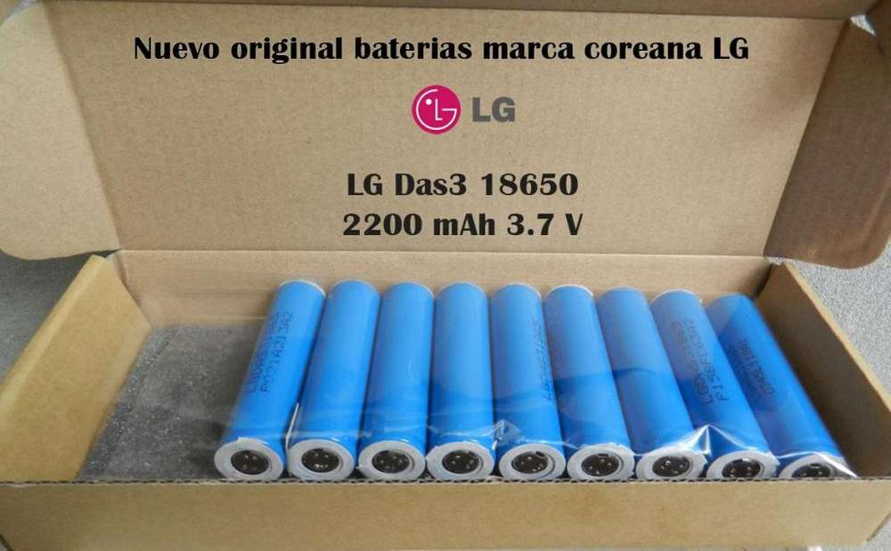 Pila Bateria RECARGABLE LITIO Liion 18650 original LG 2200 mAh 3.7 V