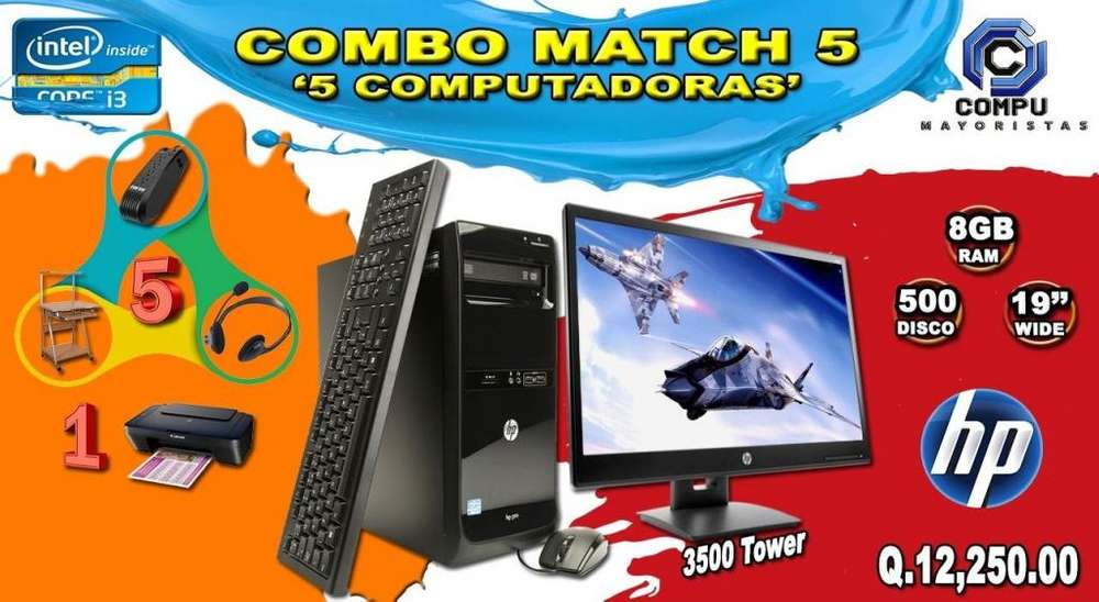 COMBO MATCH X5! COMPUTADORA PRO3500 HP INTEL CORE I3 8GB RAM INCLUYE ESCRITORIOS, REGULADORES, AUDIFONOS Y IMPRESORA