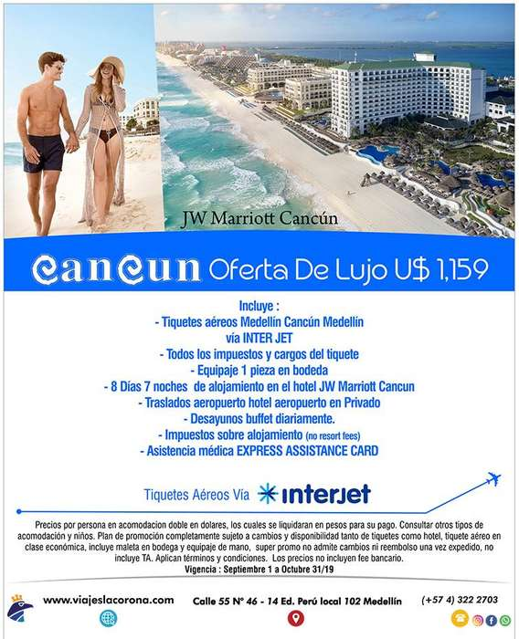 Viaje como un Rey a Cancún H. JW MARRIOTT CANCÚN con Viajes la Corona