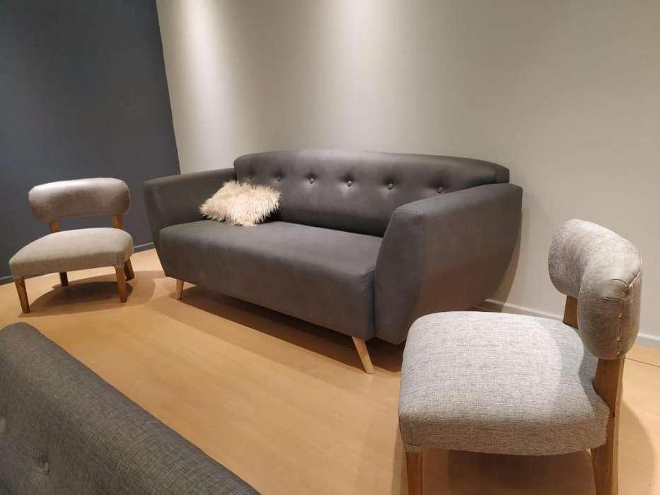 Sofa Sillon 2.00m en cuerotex patas de madera