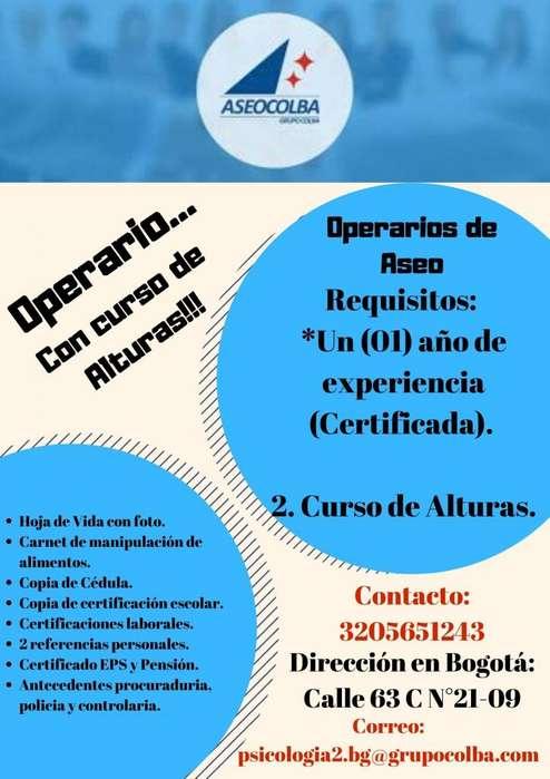 Operario de Servicios Generales con Curso de Alturas