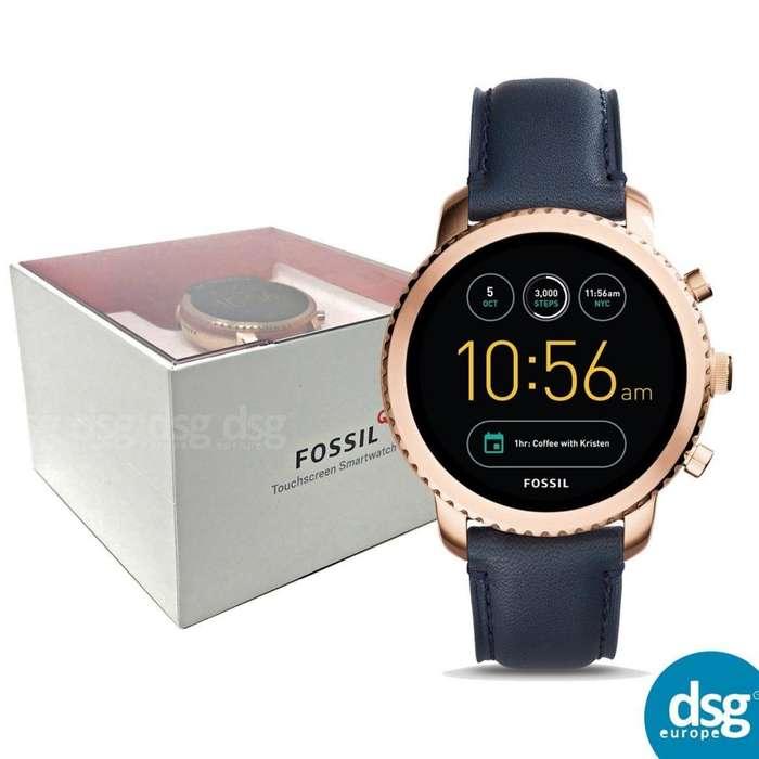 Smartwatch Fossil Gen 3 Q Hombres Explorist Acero Inoxidable y Cuero, Color: Rosa Dorado, Azul Modelo: FTW4002