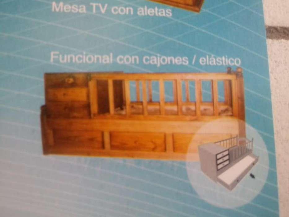 Cuna funcional con carro de madera nuevas