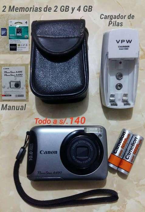 Camara Canon PowerShot A495 con Cargador de pilas en Santa Anita de Remate