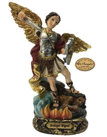 Arcángel San Miguel Medida 12.7 Cm En Marmolina Di Angelo