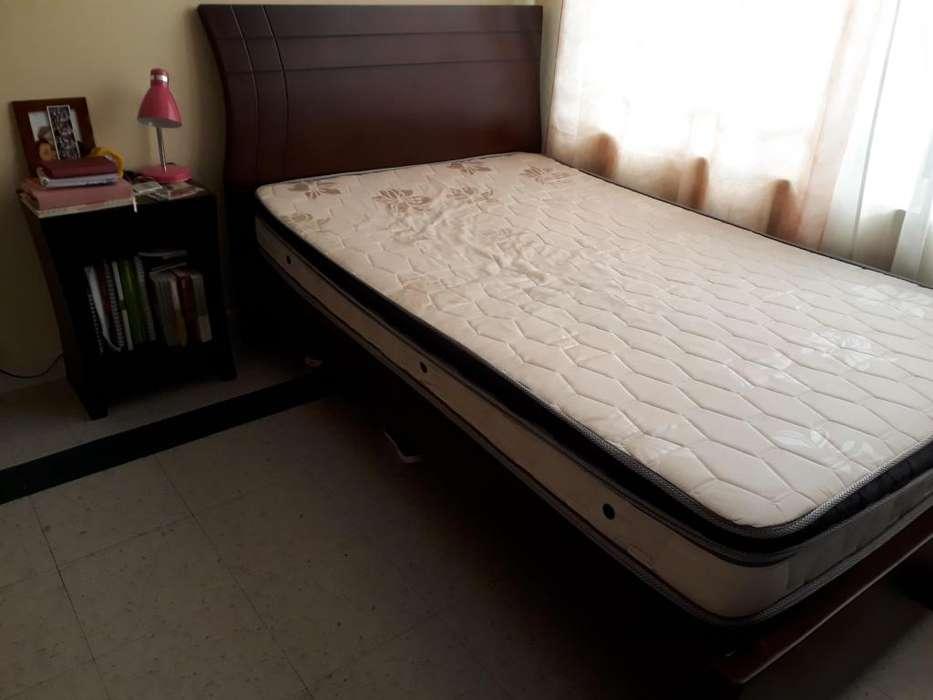 cama, mesa y televisor