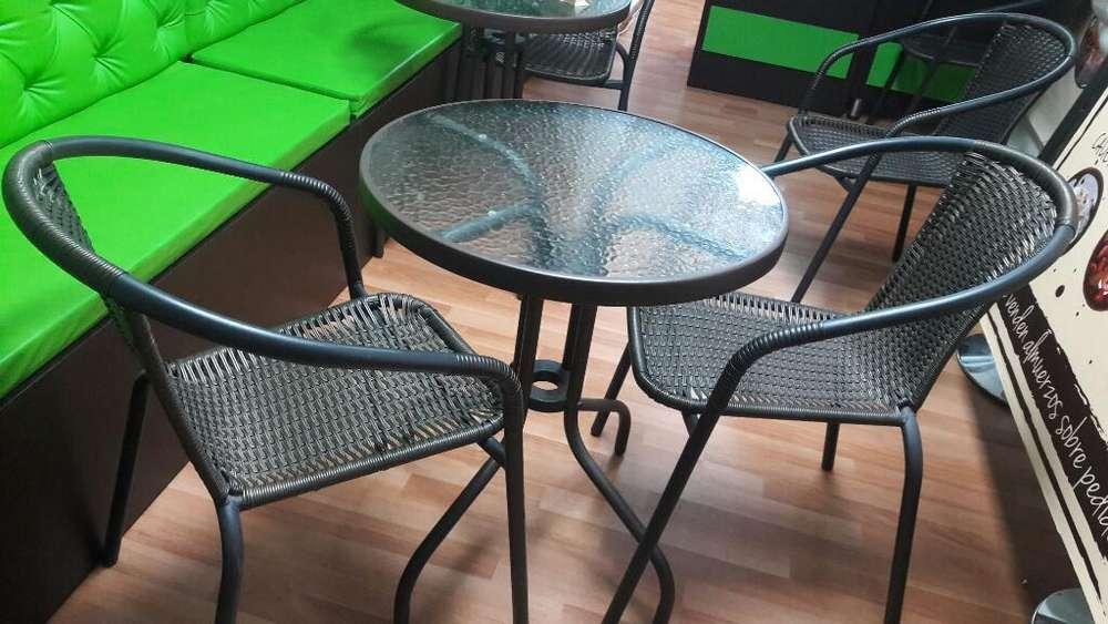 Mesa para Cafetería con 3 Sillas