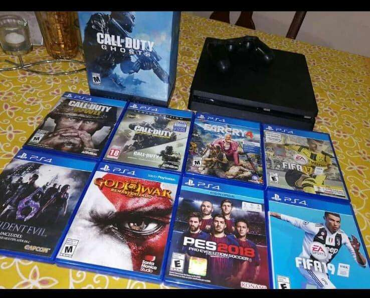 Ps4 Play Station 4 Slim 9 juegos 2 palancas.