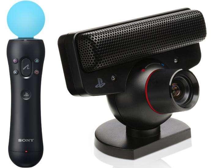 Dos Move Motion Controller y una Sony Playstation 3 Eye Camera
