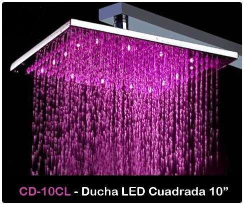 Cabezal ducha 10 cuadrada LED totalmente nueva Colores Azul, verde, rojo cambian con la temperatura del agua