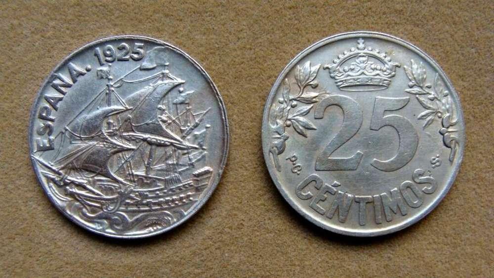 Moneda de 25 céntimos, España 1925