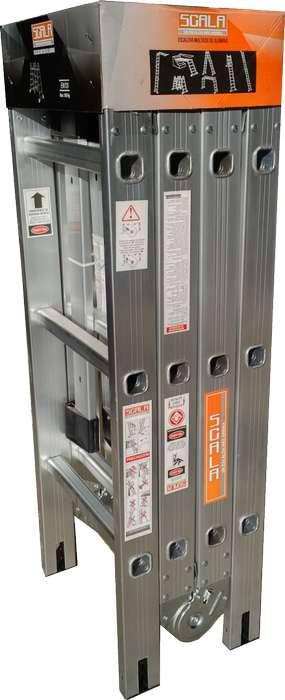 Escalera Articulada Aluminio Plegable 4,72 Mts 4 X 4 multiproposito Scala