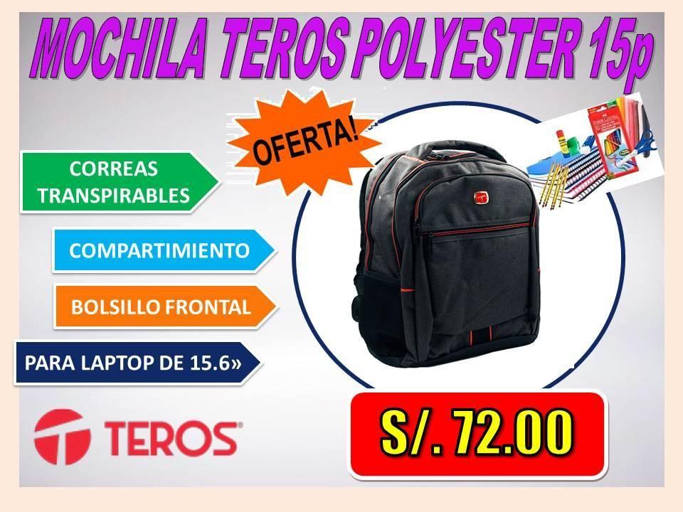 MOCHILA TEROS POLYESTER 15p