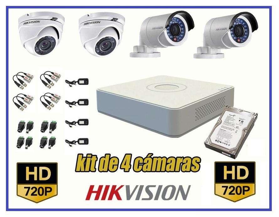Kit 4 Cámaras Seguridad HikVision HD 720p disco, 500 CCTV Completo
