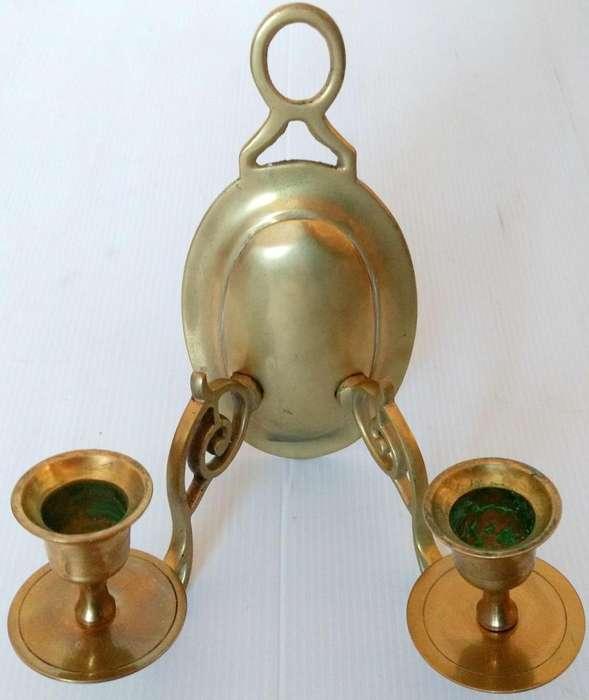 Antiguo aplique 2 velas de bronce