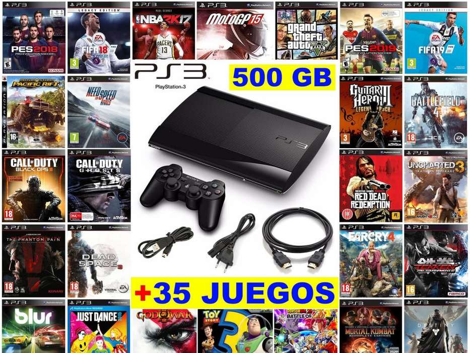 Play Station 3 Ps3 500gb con 35 Juegos Mando Original Dual Shock 3