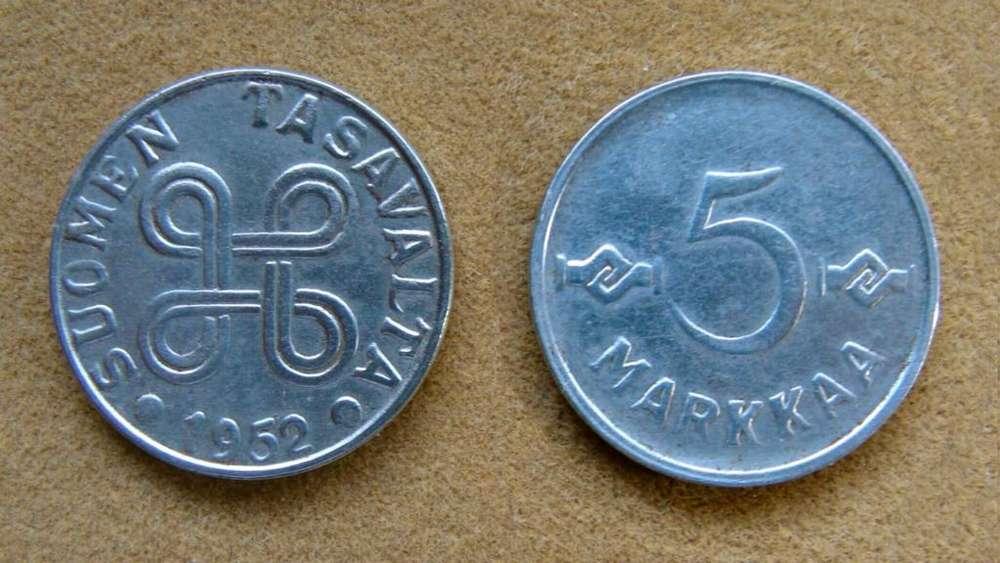 Moneda de 5 marcos Finlandia año 1952