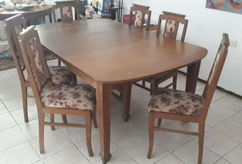 juego <strong>comedor</strong> antiguo en roble macizo con mesa extensible