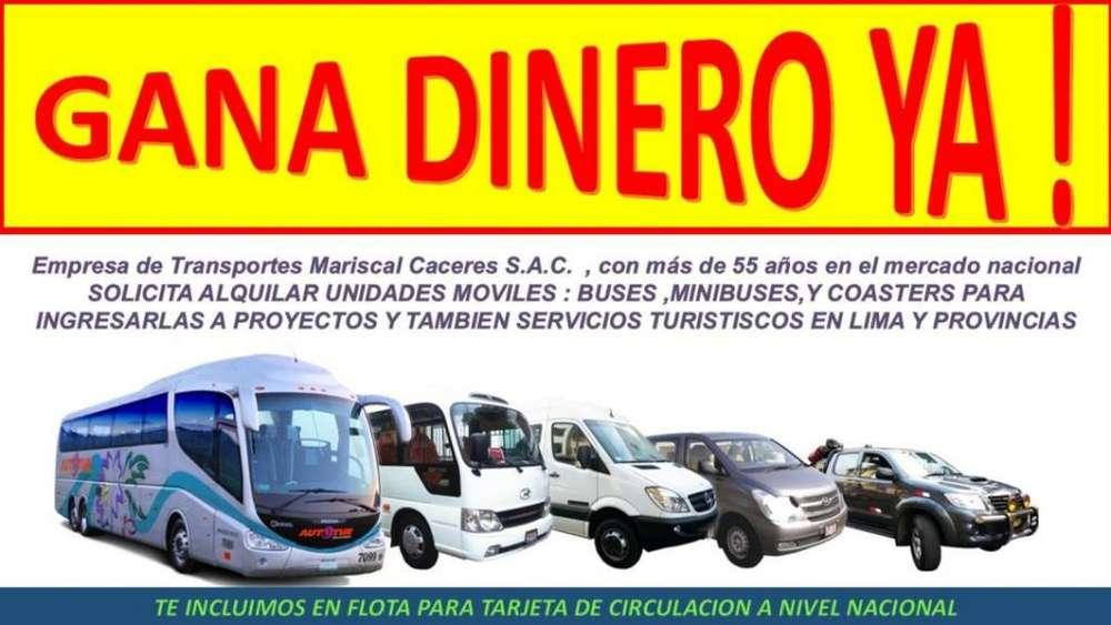 Se reciben unidades desde vans hasta buses . Vehiculos para transporte turistico y de personal a nivel nacional