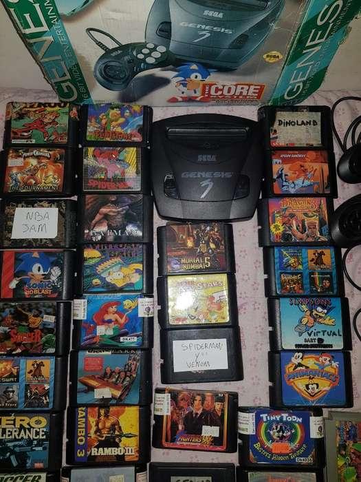 Sega Génesis 3 Y 30 Cartuchos Escucho