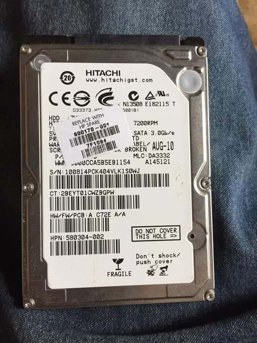 Disco Duro Hp de 500Gb Y 2 de Ram