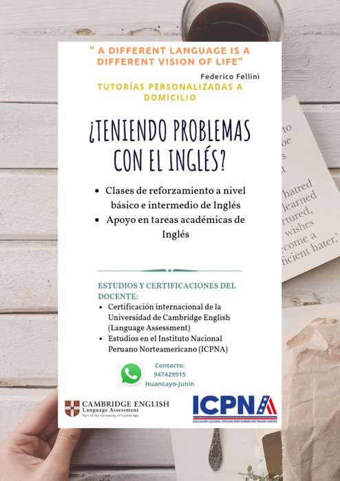 CLASES PARTICULARES Y REFORZAMIENTO DE INGLÉS A DOMICILIO