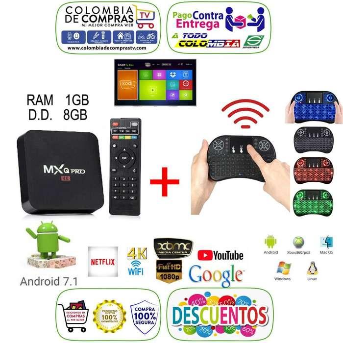 COMBO Tv Box 4k Convertidor A Smart TV Ram 1GB D.D 8GB Y Miniteclado Con Mouse Integrado, Nuevos, Garantizados