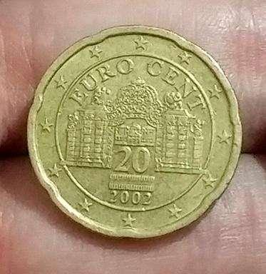 Moneda Austria 20 Euro Cents 2002 - Oro nórdico