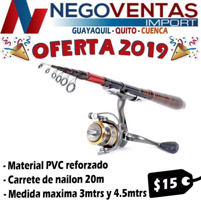 CAÑA DE PESCAR 3 METROS RETRÁCTIL TELESCOPICA DEPORTIVA INCLUYE CARRETE HILO NAILON