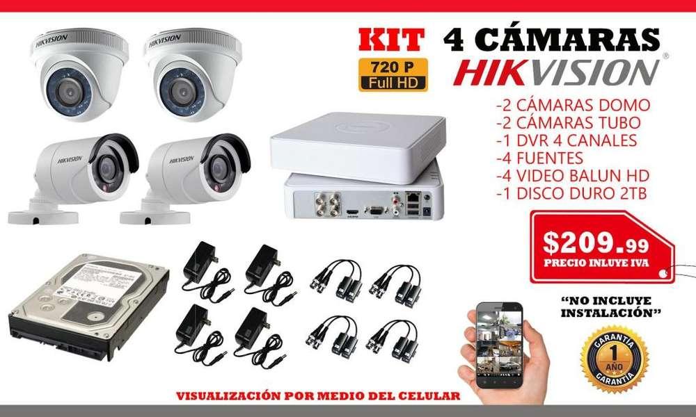 Camaras de seguridad/ kit 4 cámaras hikvision.Camaras Hd Monitoreo/