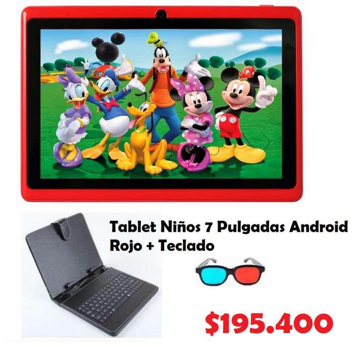 Tablet Niños 7 Pulgadas Android Rojo Teclado