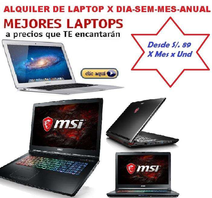 Alquiler Laptop Portatiles Pcs Monitors, Proyector, Impresora Soporte técnicoVamos a nivel Nacional Ofertas y Dsctos..!