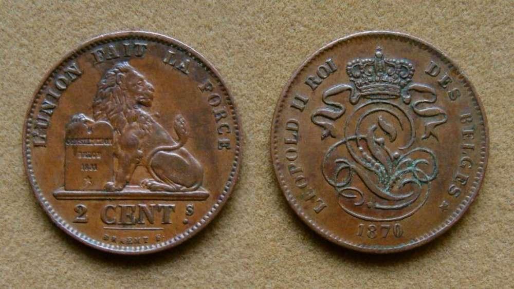 Moneda de 2 céntimos Bélgica año 1870