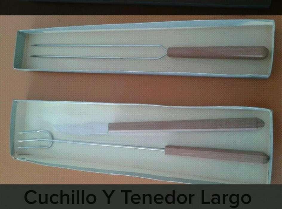 Tenedor Largo Y Cuchillo de Acero.madera