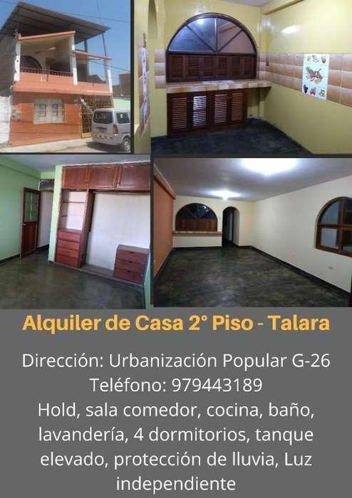 ALQUILER DE CASA 2 PISO - TALARA ALTA