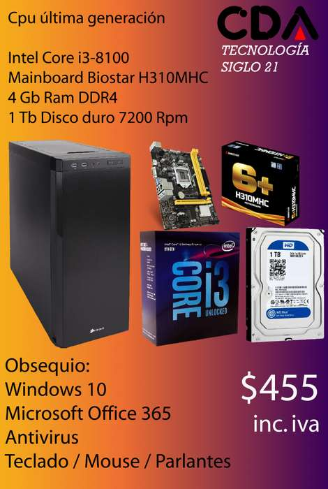 Cpu Intel Core i3 8100 Última Generación Estudiantil Universitaria