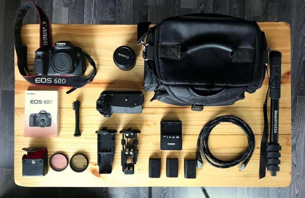 Canon 60D Combo (Lente - <strong>accesorios</strong> - maleta - monopod...)