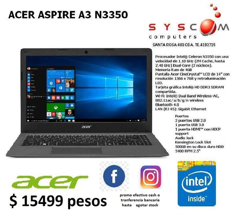 notebook acer apire a3 n3350